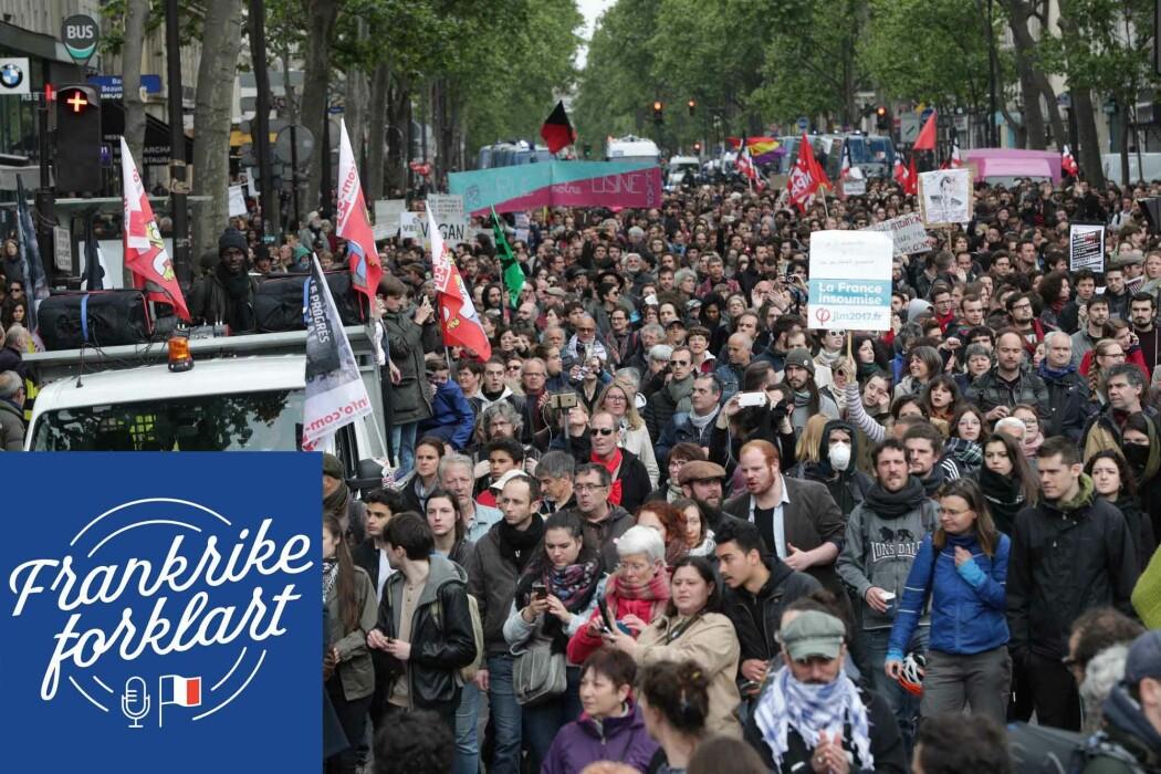 Etter Emmanuel Macron vant valget i 2017 møtte tusener opp for å protestere i gatene i Paris. Mange på venstresiden følte de ikke var representert av verken Macrons sentrumsparti eller Marine Le Pens høyre-populistiske parti, som var de to partiene franskmennene kunne velge mellom i siste valgrunde.