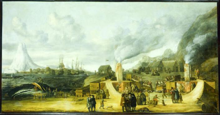 På 1800-tallet hevdet blant annet Nansen at Smeerenburg, nord-vest på Svalbard, hadde vært en stor by på 1600-tallet, med butikker, kirker, bordeller og titusenvis av besøkende om sommeren. Arkeologiske utgravinger har fullstendig tilbakevist denne myten, og man regner med at det på det meste har vært noen hundre mennesker på plass. Dette er en samtidig framstilling av en hvalfangststasjon på Svalbard fra 1639, malt av Cornelis de Man, som henger på Riksmuseet i Amsterdam.