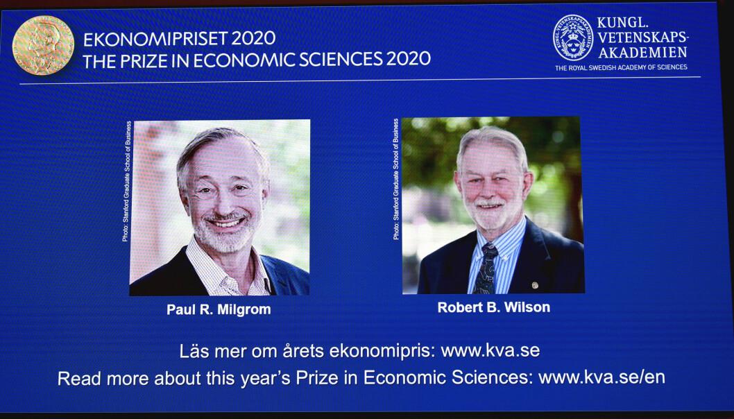 Sveriges Riksbank pris i økonomisk vitenskap til minne om  Alfred Nobel for 2020 går til Paul R. Milgrom, venstre, og Robert B. Wilson for