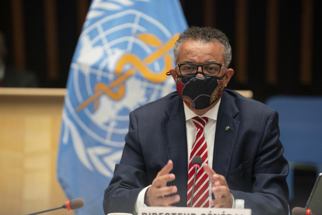 WHO-direktør Tedros Adhanom Ghebreyesus sa under et videomøte mandag at flokkimmunitet som strategi ville vært uetisk og at det ikke er et alternativ.