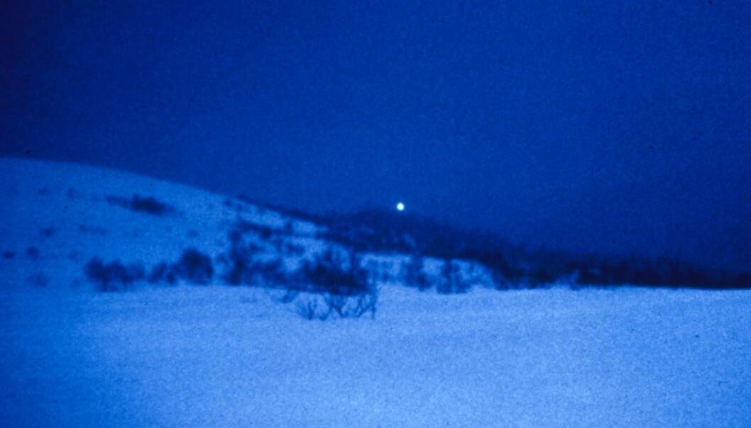 Ett av de klareste bildene tatt av lysene i Hessdalen, fotografert på begynnelsen av 1980-tallet. Mary Evans Picture/Scanpix