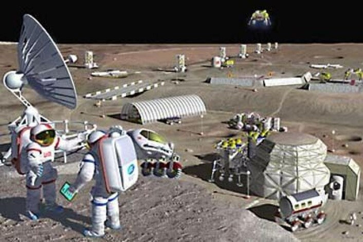 """""""Beboerne ved en framtidig månebase vil måtte beskytte segmotmeteorittnedslag, stråling og store temperaturendringer. Lavatunneler kan være et naturlig skjulested, mener forskere. Dette bildet viser derimot hvordanen basepå overflata kan se ut.(Foto: NASA Glenn Research Center)"""