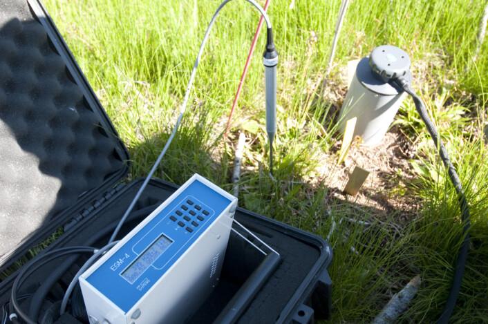 En sylinder plassert over bakken suger inn luft fra jorda og fører den inn i en infrarød CO2-gassanalysator. Staven stikkes i bakken og måler temperaturen og fuktigheten i jorda. Hensikten med målingene er å studere endringer i respirasjonen fra jorda etter hogst og etter uttak av greiner og topper (grot) fra hogstfeltet. (Foto: Lars Sandved Dalen)