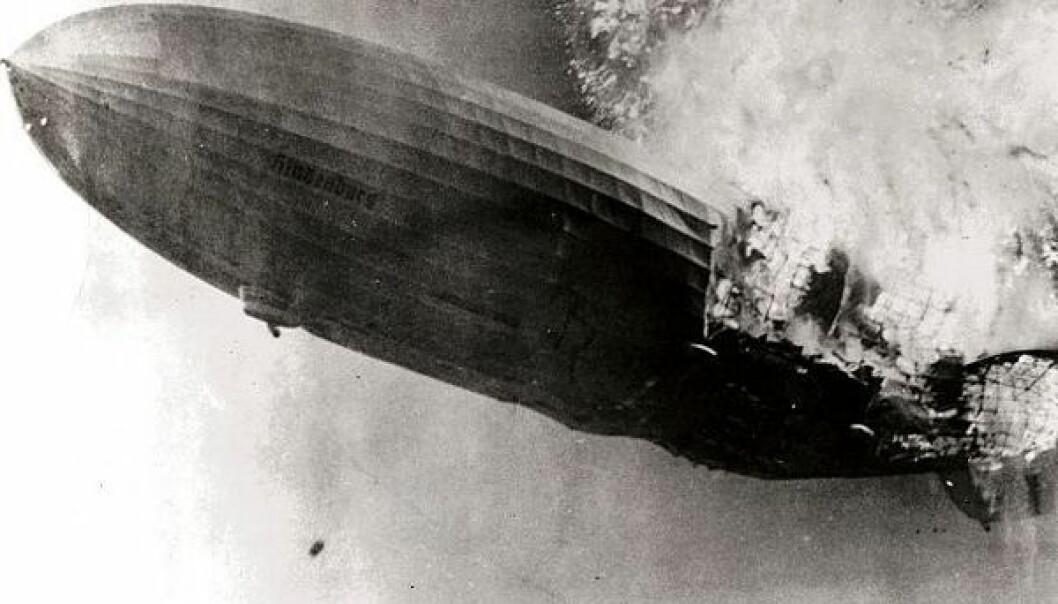 Luftskipet Hindenburg eksploderte 6. mai 1937 i Lakehurst i New Jersey. Wikimedia Commons