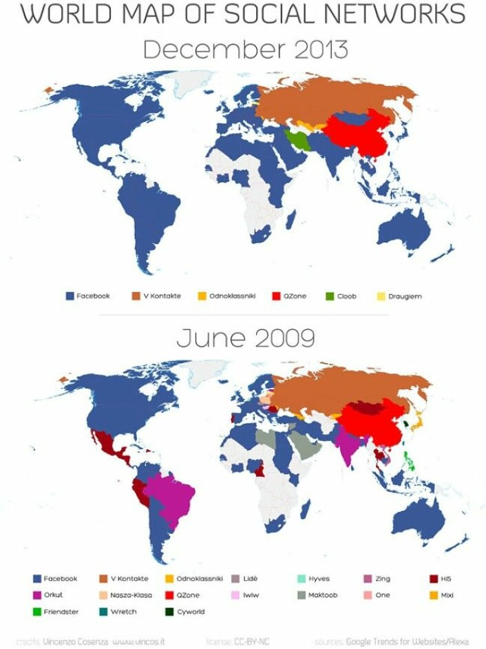 Kartet til den sosiale medier-analytikeren Vincenzo Cosenza viser hvordan Facebook har vokst på bekostning av andre nettsamfunn over hele verden de siste fem årene. (Foto: Vincenzo Cosenza/www.vincos.it)