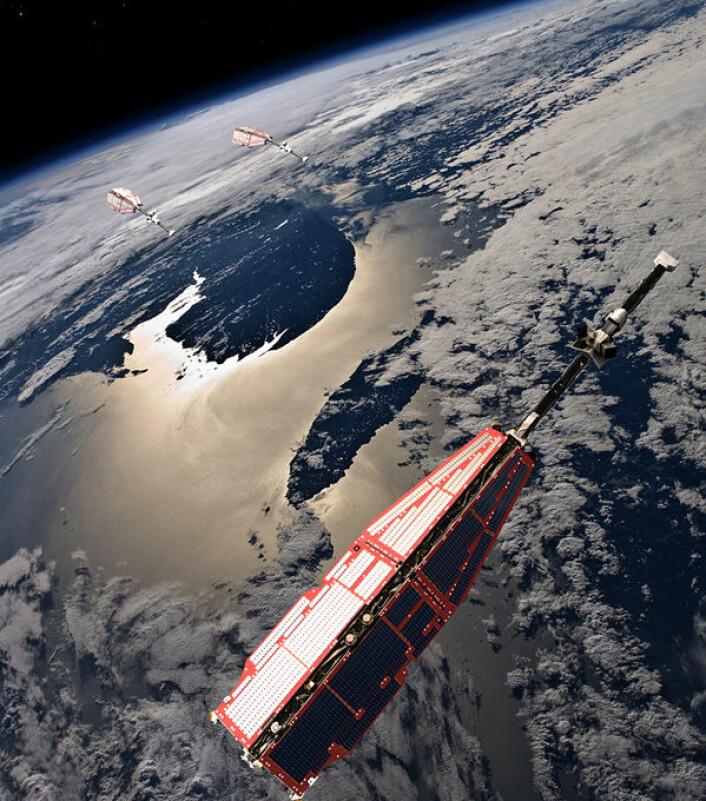 De tre satellittene som utgjør Swarm skal kartlegge jordas magnetfelt fra ulike høyder og posisjoner. (Foto: (Illustrasjon: ESA/AOES Medialab))