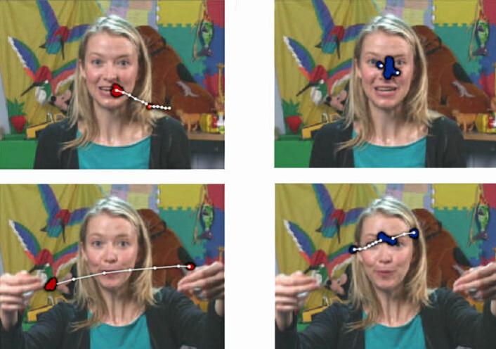 Hit ser barna. Bildene til venstre viser data fra blikksporingen hos en seks måneder gammel baby som senere ble diagnostisert med en autismespekterforstyrrelse, mens bildene til høyre viser en seks måneder gammel baby med typisk utvikling. (Foto: (Illustrasjon: fra Early loss of eye contact in autism spectrum disorders , Nature, Vol. 503, No. 7474)