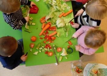 Barn kutter grønnsaker. (Foto: Sondre Bjaberg)