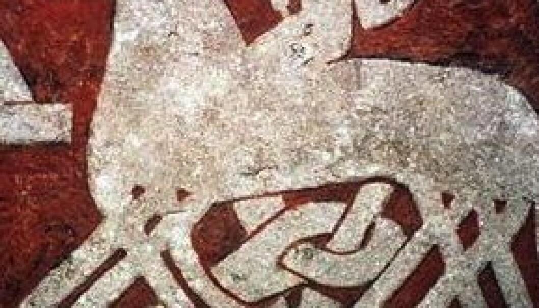 Odin på Sleipner avbildet på en norrøn billedstein fra Gotland. (Illustrasjon: Wikimedia Commons)
