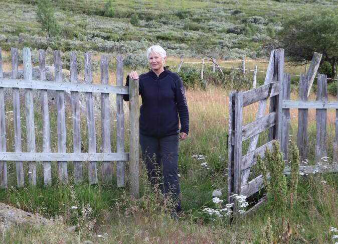 Kari Stensgaard ved den same grinda på Grasvika som er på 1969-bildet over. Tidlegare var areala nedtrakka og opne. No gror dei til med bjørk, furu og vierkratt tett inntil gjerdet.