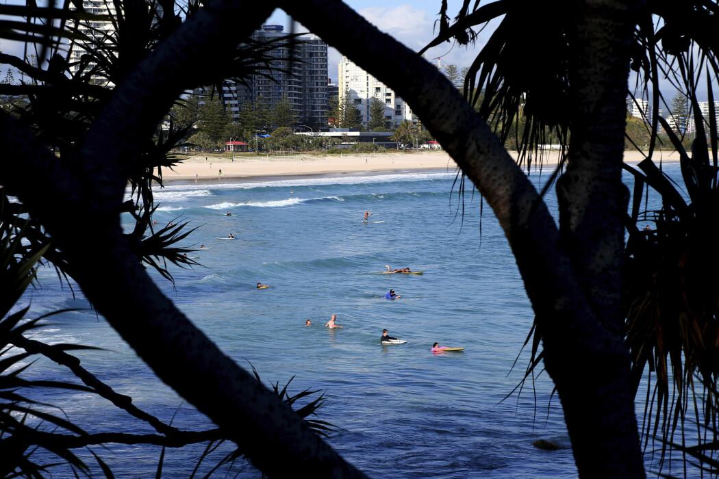 Surfere i vannet ved Greenmount Beach i Australia. Landet opplever uvanlig mange haiangrep i år.