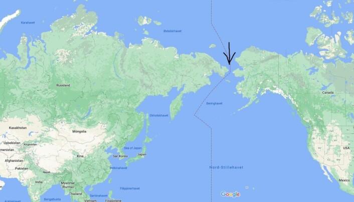 USA og Russland skilles bare fem kilometer. Dette området kalles Beringstredet.