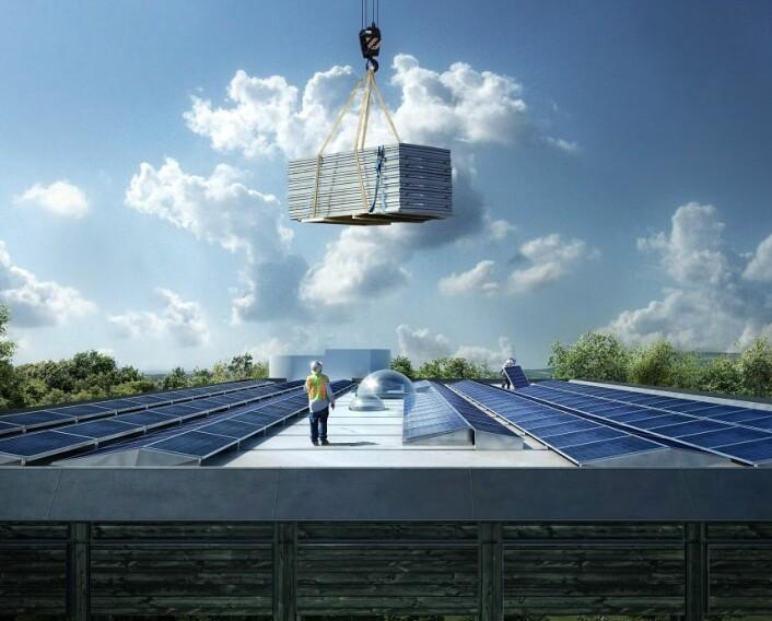 Solceller på taket skal sørge for at Powerhouse Kjørbo i Sandvika er selvforsynt med elektrisitet. (Foto: Snøhetta/MIR)