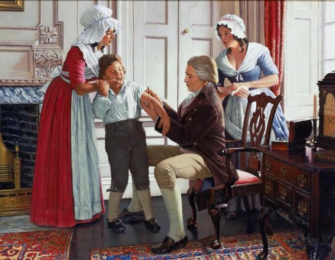 Legen Edward Jenner injiserte den første koppevaksinen i fattiggutten James Phipps i 1796.