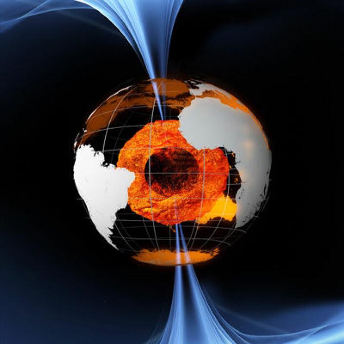 Jordas magnetfelt skapes av flytende jern som spinner i planetens indre. Illustrasjon: ESA (Foto: (Illustrasjon: ESA/AOES Medialab))