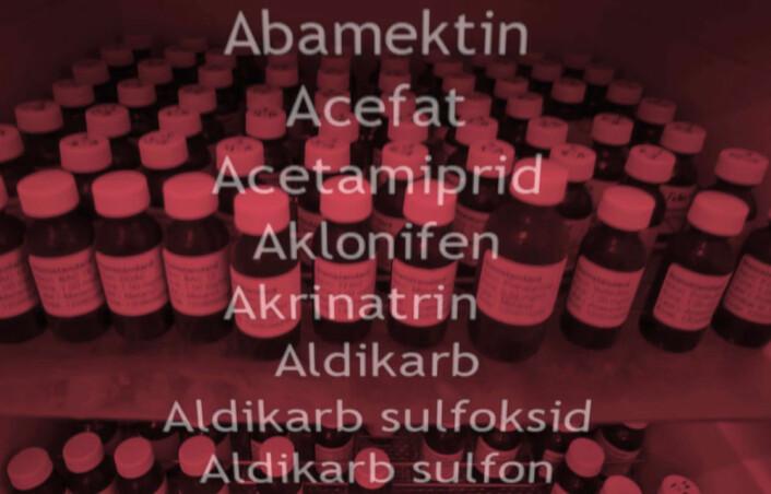 Disse standardprøvene inneholder kjente mengder av 320 forskjellige plantevernmidler som Bioforsk Plantehelse analyserer mengden av i blant annet frukt og grønnsaker. (Foto: Arnfinn Christensen, forskning.no)