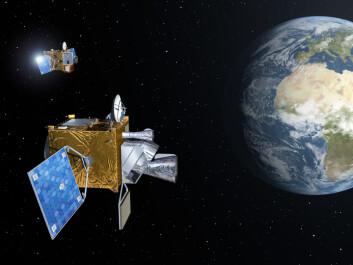 To av satellittene i Meteosat Third Generation, Europas nye generasjon værsatellitter, svever over jorda. (Illustrasjon: ESA/P. Carril)