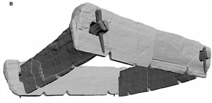 Illustrasjon som viser hvordan en av trerammene som er funnet er bygd. (Foto: (Illustrasjon: Tegel at. al., PLOS One 2012))