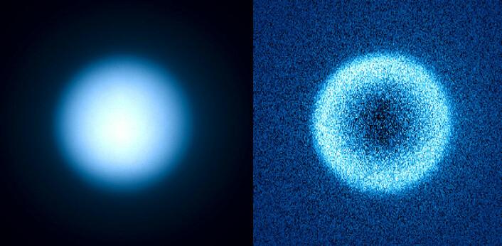Saturnmånen Titans atmosfære, fotografert uten (til venstre) og med måling av polarisering av SPHERE-instrumentet. Polariseringen kommer av at lyset spres i disen, men også reflektert lys polariseres, for eksempel det reflekterte lyset fra eksoplaneter. (Foto: ESO/J.-L. Beuzit et al./SPHERE Consortium)