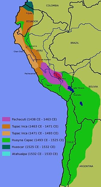 Inkarikets utbredelse.