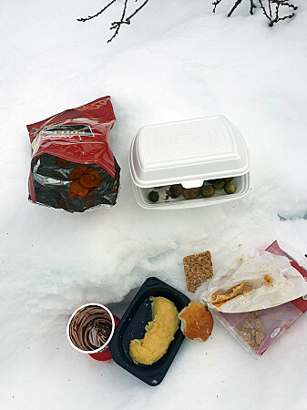 Food waste left along the road at Dovre – just the kind of items that attract scavengers.