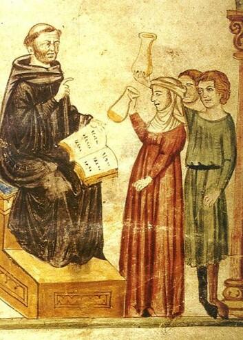 Den tunisiske legen Konstantin, som levde for nærmere 1000 år siden, skal ha  undersøkt pasienters urinprøver, slik han  gjør i dette verket. (Foto: (Kilde: Wikimedia Commons))