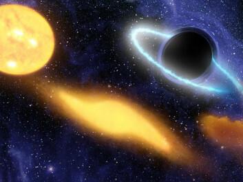 - Levende vesener blir strekt ut som spaghetti på vei mot det sorte hullet, forteller Riiser Kristiansen. (Foto: (Illustrasjon: NASA/JPL-Caltech))