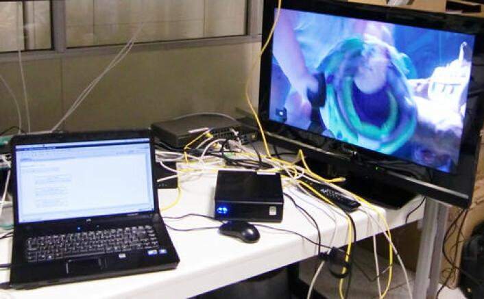 Her har forskerne testet appen på en Toy Story-film i Telefonicas laboratorium (Foto: Amela Karahasanović)