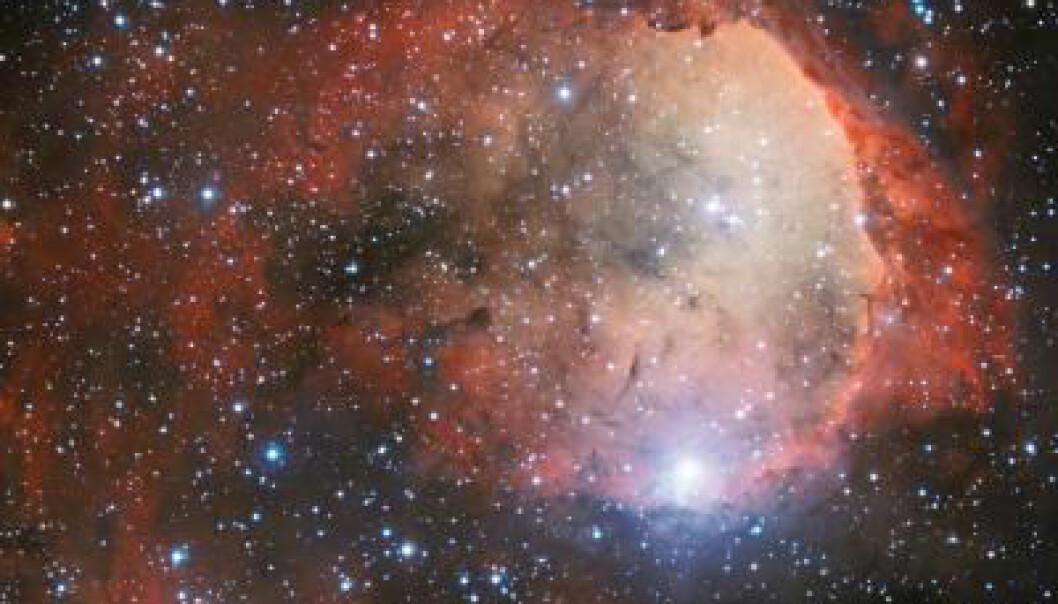 Hulrommet i stjernetåka Carina er fotografert fra ESOs observatorium i Chile. Kanten av hulrommet kan minne om et menneske i profil. ESO