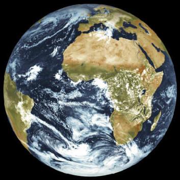 Jorda, fotografert av værsatellittene i Meteosat Second Generation. (Foto: ESA/Eumetsat)