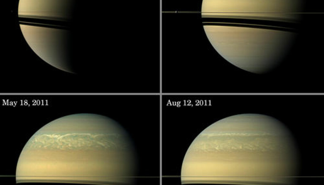 Saturn, storm 2010-2011. (Illustrasjon: NASA/JPL-Caltech/Space Science Institute)