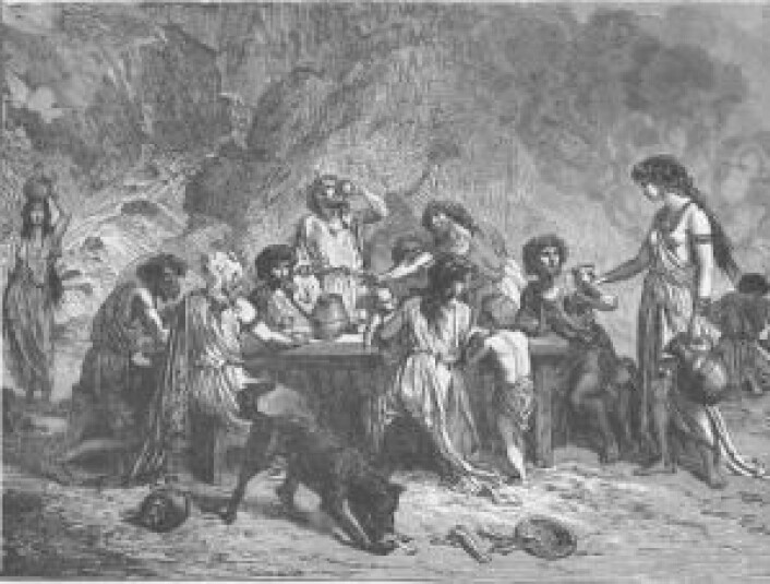 Funnet av vinrester i en krukke viser at man har hatt vin i Norden så tidlig som 1100 år før Kristus. Ifølge forskerne bak studien kan folk ha handlet seg til vinen hos sentral- og søreuropeere. (Foto: (Illustrasjon: Robert Brown))