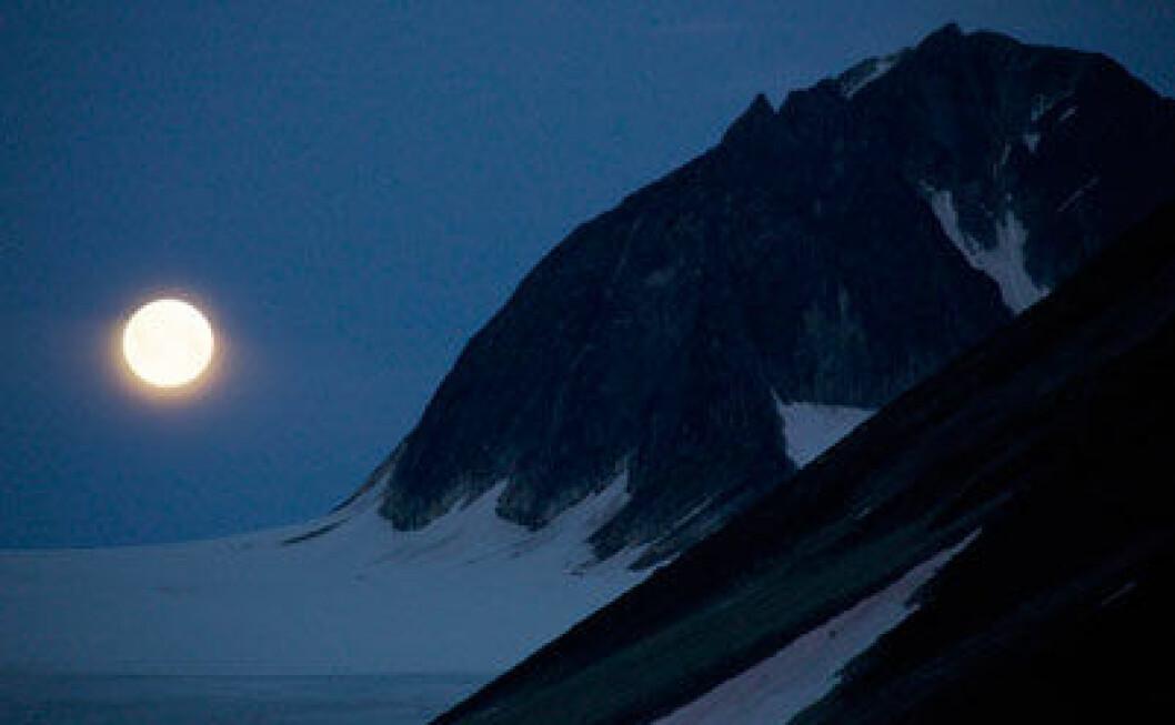 Månelyset in den ellers så mørke polarnatten påvirker livet i polhavet. (Foto: Geir Johnsen/UNIS)