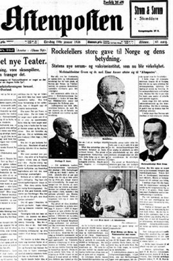 The press cheered Rockefeller's gift to the Institute of Public Health. Facsimile from Aftenposten January 19th 1926.