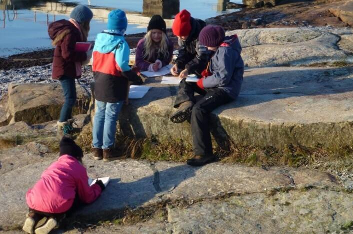 Det er få prikkete steiner på Nesodden, lærte elevene. Det skyldes en dramatisk hendelse for 300 millioner år siden. (Foto: Annette Tingstad)