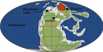 Slik så deler av verden ut mot slutten av perm. Innsjøen Buchanan i Canada er avmerket, i tillegg til Trondheim og vulkanområdene i Sibir. (Foto: (Illustrasjon: NGU))