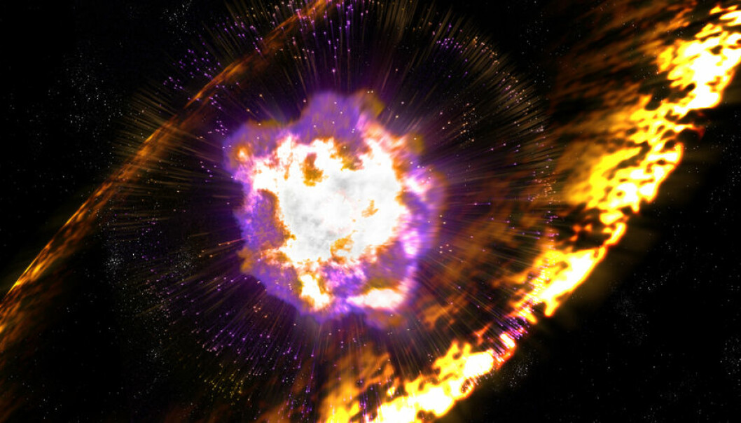 Når supernovaer eksploderer, sender de ut sjokkbølger med turbulente magnetfelt som akselererer protoner til enorme energier. Mekanismen kalles Fermi-akselerasjon, etter fysikeren Enrico Fermi, som først foreslo den. (Illustrasjon: Greg Stewart, SLAC National Accelerator Laboratory)