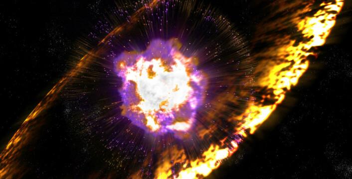 Når supernovaer eksploderer, sender de ut sjokkbølger med turbulente magnetfelt som akselererer protoner til enorme energier. Mekanismen kalles Fermi-akselerasjon, etter fysikeren Enrico Fermi, som først foreslo den. (Foto: (Illustrasjon: Greg Stewart, SLAC National Accelerator Laboratory))