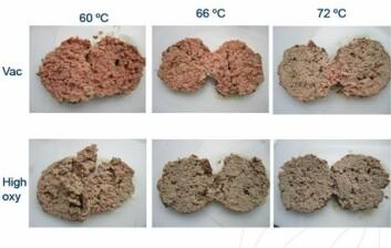 Når kjøtt pakkes i høyoksygen, blir det brungrått og ser gjennomstekt ut allerede ved 60 grader, mens kjøtt pakket med andre tradisjonelle gassblandinger eller med vakuum, trenger temperaturer over 71 grader for å oppnå samme farge. (Foto: Oddvin Sørheim/Nofima)