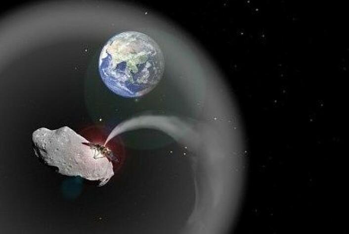 Et romskip legger et støvteppe over jorda. (Foto: Charlotte Lücking, basert på bilder fra ESA and NASA)