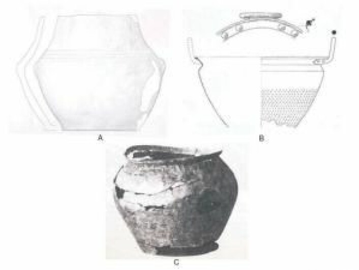 Dette er de tre danske krukkene. Den eldste, fra Nandrup (A), er trolig fra mellom år 1500–1300 før Kristus. Den nest eldste, fra Kostræde (B), viste seg å inneholde rester av vin. Den siste krukken er fra Jyllinge (C) og er fra cirka 200 år før Kristus. (Foto:Patrick E. McGovern et. al.)