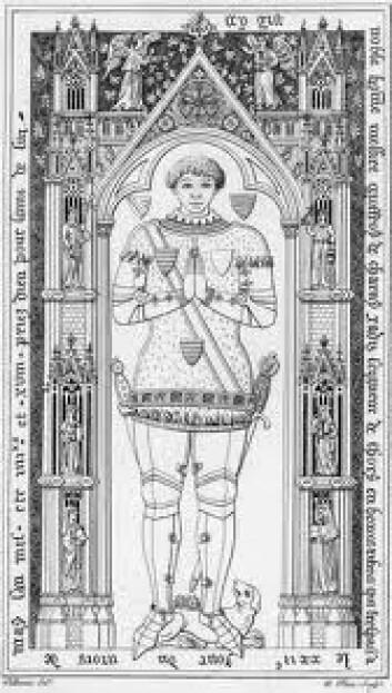 Geoffroi de Charny ble født en gang på begynnelsen av 1300-tallet. (Foto: (Illustrasjon: Effigies & Brasses/Wikimedia Commons))