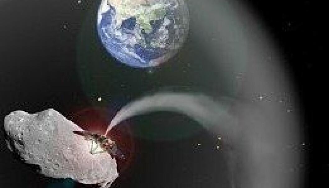 Et romskip legger et støvteppe over jorda. Charlotte Lücking, basert på bilder fra ESA and NASA