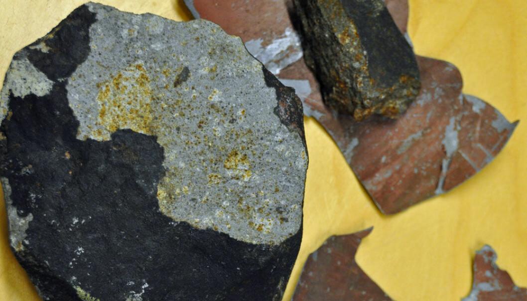 Meteoritten som vart funnen på ein veranda på Grefsen, og delar av blikket frå verandaen. Rune S.Selbekk, NHM/UiO