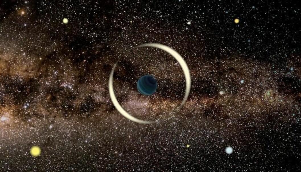 En ensom planet på tur i verdensrommet. Planeten forstyrrer lyset fra en stjerne i bakgrunnen. Det er slik forskerne kan finne slike enslige planeter.