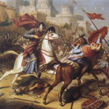 Ridderen Robert de Normandie under slaget om Antioch i 1097. (Foto: (Illustrasjon: J.J. Dassy/Wikimedia Commons))