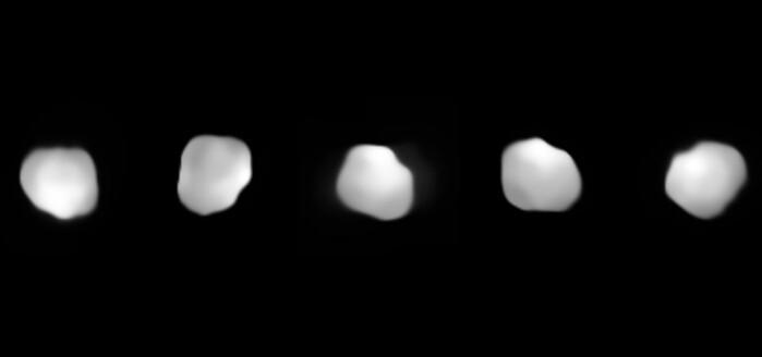 Kollasj av flere bilder av Psyche, tatt av Very Large Telescope. Den besøkende romsonden skal være proppfull av ulike instrumenter, og vil gi langt bedre bilder enn dette.