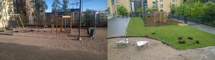 Før og etter. Her er en av barnehagene som fikk gress og skogbunn.