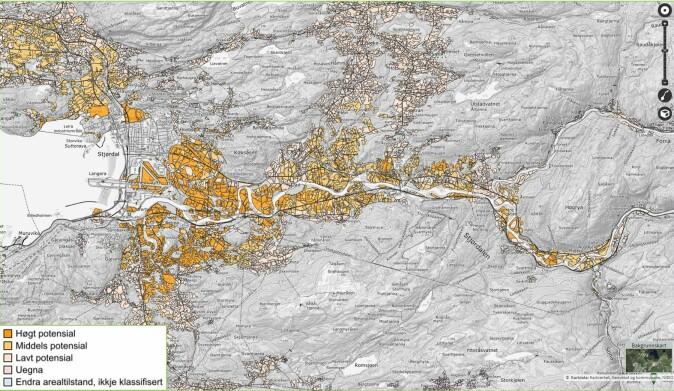 Kartet viser potensialet for dyrking av sein hvete i Stjørdal kommune. Disse beste områdene ligger nær sentrum og er derfor gjerne utsatt for omdisponering og nedbygging.