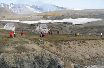En gruppe turister fra en kystcruisebåt har gått i land på lokaliteten London i Kongsfjorden på vestkysten av Svalbard. (Foto: Dagmar Hagen)